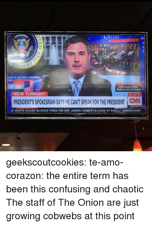 Fbi, The Onion, and Tumblr: NOT IN THE PARIS AGREEMENT  OMING UP  PUTIN TALKS RUSSIA  PROBE IN NEW INTERVIEW  NEW TONIGHT  LIVE  PRESIDENT'S SPOKESMAN SAYS HE CANT SPEAK FOR THE PRESIDENT : CAN  2:43 PM PT  E WHITE HOUSE SILENCE FIRED FBI DIR. JAMES COMEY? A LOOK AT EXECU SITUATION ROOM geekscoutcookies:  te-amo-corazon:  the entire term has been this confusing and chaotic  The staff of The Onion are just growing cobwebs at this point