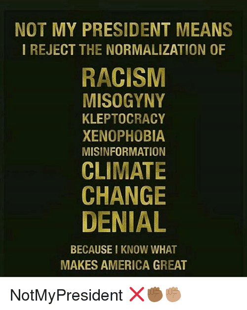 America, Memes, and Racism: NOT MY PRESIDENT MEANS  I REJECT THE NORMALIZATION OF  RACISM  MISOGYNY  KLEPTOCRACY  XENOPHOBIA  MISINFORMATION  CLIMATE  CHANGE  DENIAL  BECAUSE I KNOW WHAT  MAKES AMERICA GREAT NotMyPresident ❌✊🏾✊🏽