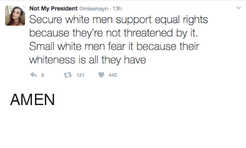Memes, 🤖, and  White Men: Not My President @missmayn 13h  Secure white men support equal rights  because they're not threatened by it.  Small white men fear it because their  whiteness is all they have  121  442 AMEN