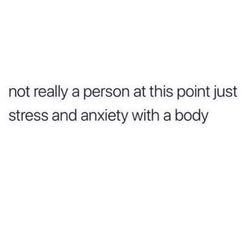 Anxiety, Stress, and Person: not really a person at this point just  stress and anxiety with a body
