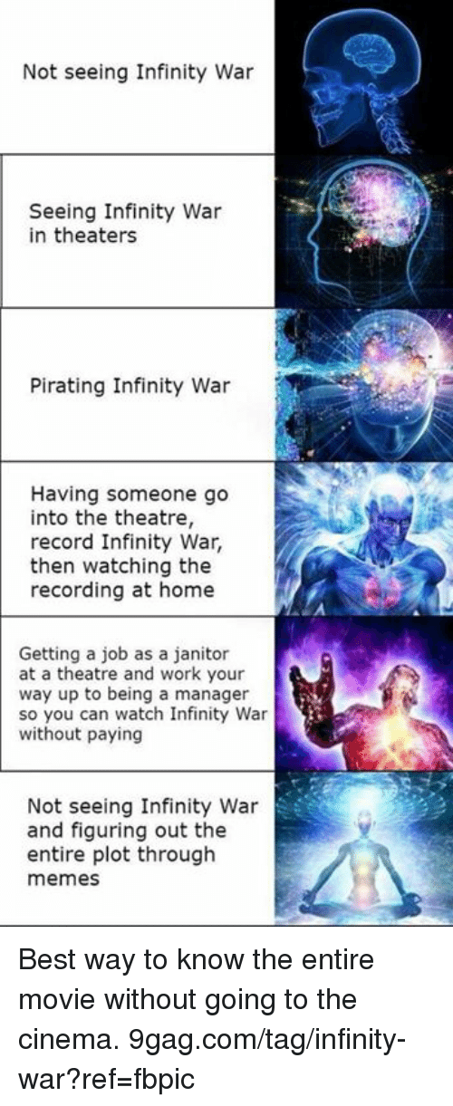 9gag, Dank, and Memes: Not seeing Infinity War  Seeing Infinity War  in theaters  Pirating Infinity War  Having someone go  into the theatre,  record Infinity War,  then watching the  recording at home  Getting a job as a janitor  at a theatre and work your  way up to being a manager  so you can watch Infinity War  without paying  Not seeing Infinity War  and figuring out the  entire plot through  memes Best way to know the entire movie without going to the cinema. 9gag.com/tag/infinity-war?ref=fbpic