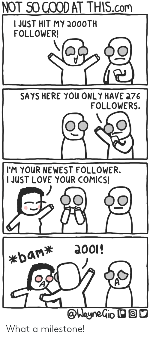 hit: NOT SO GOOD AT THIS.com  I JUST HIT MY 2000TH  FOLLOWER!  SAYS HERE YOU ONLY HAVE a76  FOLLOWERS.  I'M YOUR NEWEST FOLLOWER.  | JUST LOVE YOUR COMICS!  2001!  *bam*  @WayneGio OO What a milestone!