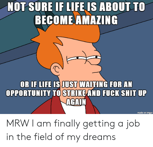Life, Mrw, and Shit: NOT SURE IF LIFE IS ABOUT TO  ΒECOMEAΜΑΖΙNG  OR IF LIFE IS JUST WAITING FOR AN  OPPORTUNITY TO STRIKE AND FUCK SHIT UP  AGAIN MRW I am finally getting a job in the field of my dreams