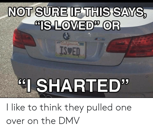 """Dmv, California, and One: NOT SURE IF THIS SAYS,  IS LOVED OR  California  APR  ISSED  כל  """"I SHARTED"""" I like to think they pulled one over on the DMV"""