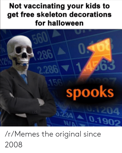 Halloween, Memes, and Free: Not vaccinating your kids to  get free skeleton decorations  for halloween  560  286A  2.286 14563  .156  spooks  70  0.1204  0.234 0.1902  N/A /r/Memes the original since 2008