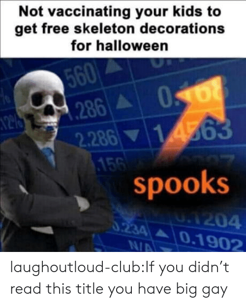 Club, Halloween, and Tumblr: Not vaccinating your kids to  get free skeleton decorations  for halloween  560  N2 286 068  2.28614563  156  spooks  UA204  0234 0.1902  0.234  N/A laughoutloud-club:If you didn't read this title you have big gay