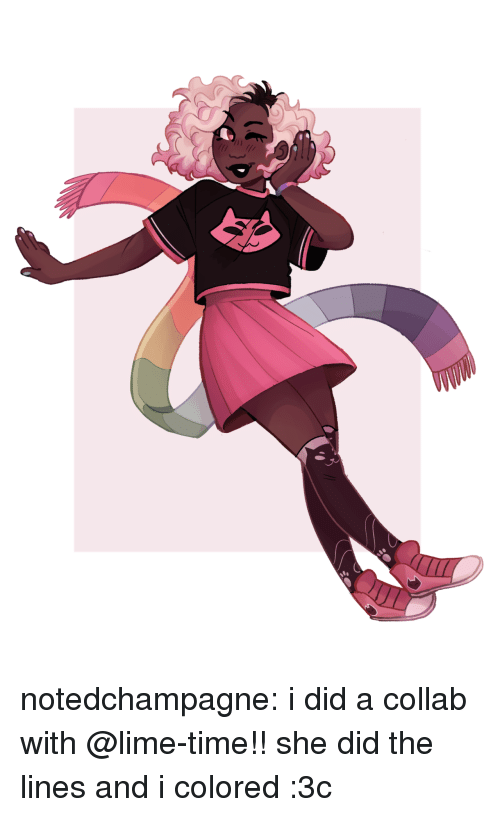 collab: notedchampagne:  i did a collab with @lime-time!! she did the lines and i colored :3c