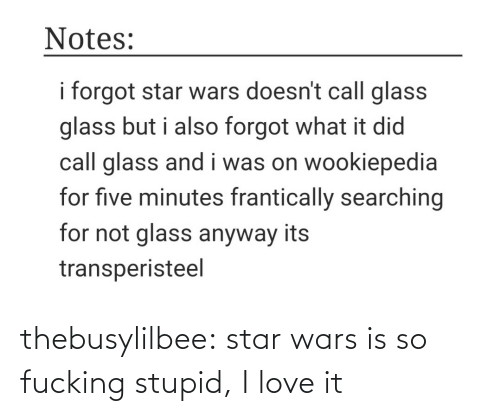 minutes: Notes:  i forgot star wars doesn't call glass  glass but i also forgot what it did  call glass and i was on wookiepedia  for five minutes frantically searching  for not glass anyway its  transperisteel thebusylilbee:  star wars is so fucking stupid, I love it
