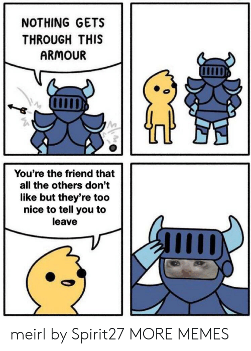 Dank, Memes, and Target: NOTHING GETS  THROUGH THIS  ARMOUR  You're the friend that  all the others don't  like but they're too  nice to tell you to  leave meirl by Spirit27 MORE MEMES