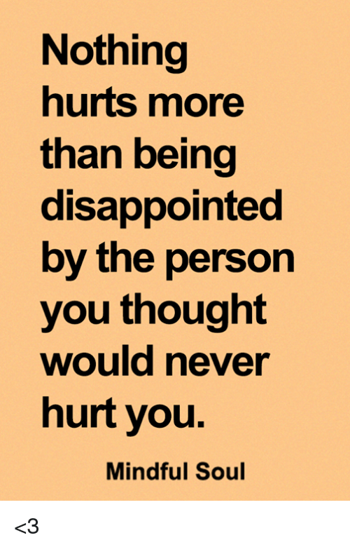 Disappointed, Memes, and Never: Nothing  hurts more  than being  disappointed  by the person  you thought  would never  hurt you  Mindful Soul <3