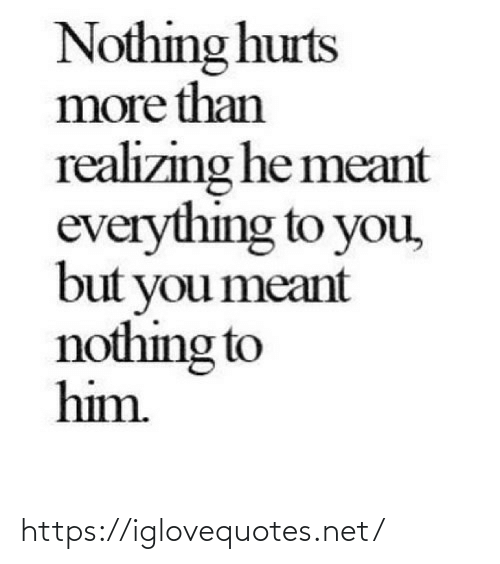 Meant: Nothing hurts  more than  realizing he meant  everything to you,  but you meant  nothing to  him. https://iglovequotes.net/