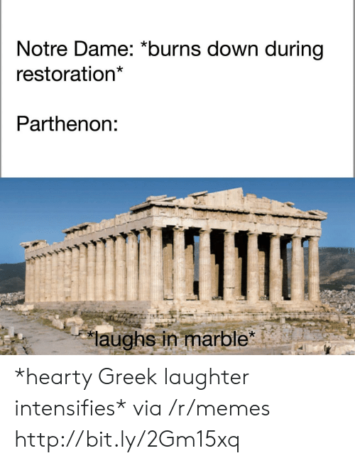 Memes, Http, and Notre Dame: Notre Dame: *burns down during  restoration*  Parthenon:  laughs in marble *hearty Greek laughter intensifies* via /r/memes http://bit.ly/2Gm15xq