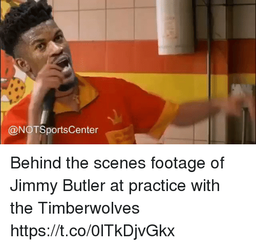 Jimmy Butler, Sports, and Timberwolves: @NOTSportsCenter Behind the scenes footage of Jimmy Butler at practice with the Timberwolves https://t.co/0lTkDjvGkx
