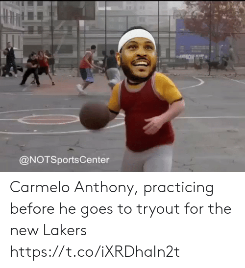 Carmelo Anthony, Los Angeles Lakers, and Sports: @NOTSportsCenter Carmelo Anthony, practicing before he goes to tryout for the new Lakers https://t.co/iXRDhaIn2t