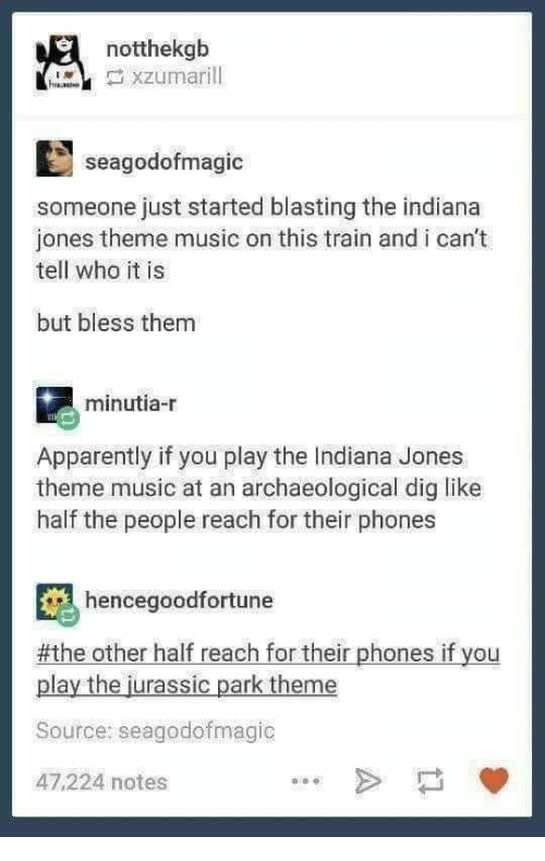 Apparently, Jurassic Park, and Music: notthekgb  seagodofmagic  someone just started blasting the indiana  jones theme music on this train and i can't  tell who it is  but bless them  minutia-r  Apparently if you play the Indiana Jones  theme music at an archaeological dig like  half the people reach for their phones  hencegoodfortune  #the other half reach for their phones if you  play the jurassic park theme  Source: seagodofmagic  47,224 notes