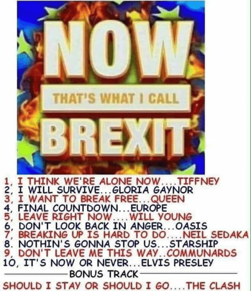 Being Alone, Countdown, and Memes: NOW  BREXIT  THAT'S WHAT I CALL  1, I THINK WE'RE ALONE NOW...TIFFNEY  2. I WILL SURVIVE. . .GLORIA GAYNOR  3, I WANT TO BREAK FREE...QUEEN  4, FINAL COUNTDOWN...EUROPE  5, LEAVE RIGHT NOW WILL YOUNG  6, DON'T LOOK BACK IN ANGER...OASIS  7, BREAKING UP IS HARD TO DO....NEIL SEDAKA  8. NOTHIN'S GONNA STOP US...STARSHIP  9, DON'T LEAVE ME THIS WAY..COMMUNARDS  10, IT'S NOW OR NEVER...ELVIS PRESLEY  BONUS TRACK  SHOULD I STAY OR SHOULD I GO..THE CLASH