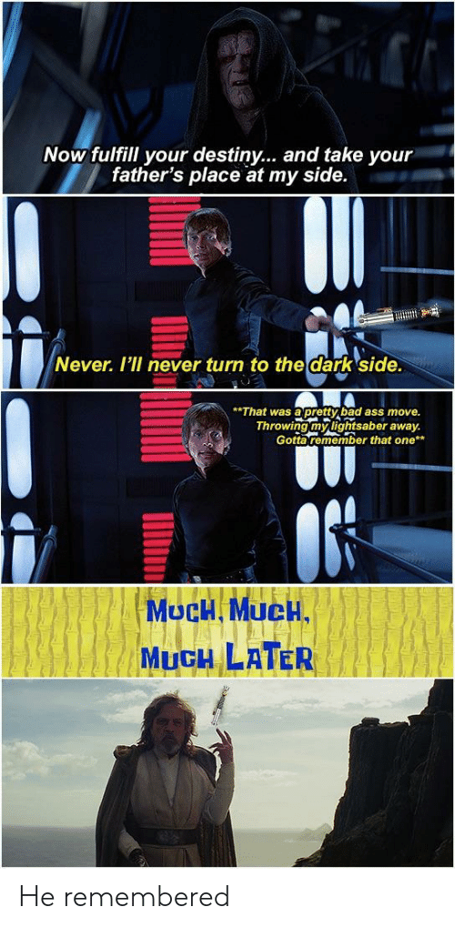 Ass, Bad, and Destiny: Now fulfill your destiny... and take your  father's place at my side.  Never. I'I never turn to the dark side.  That was apretty bad ass move.  Throwing mylightsaber away  Gotta remember that one  MucH MUCH,  MUCH LATER He remembered