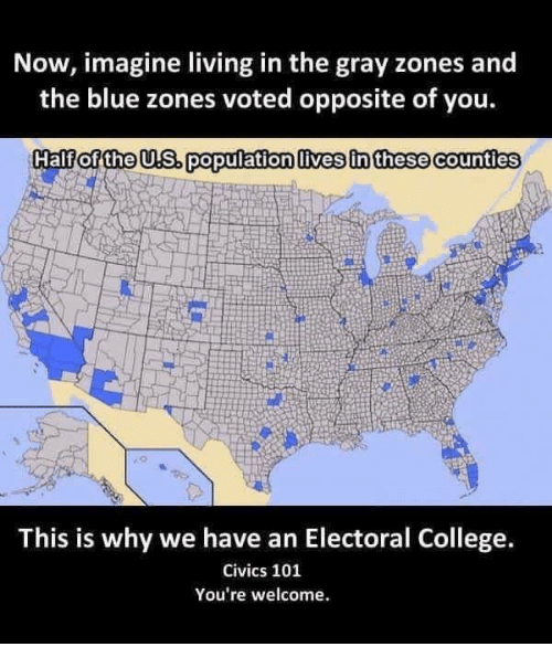 College, Blue, and Living: Now, imagine living in the gray zones and  the blue zones voted opposite of you.  Half of the US. population lives in these Counties  This is why we have an Electoral College.  Civics 101  You're welcome