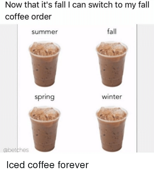 Fall, Winter, and Summer: Now that it's fall I can switch to my fall  coffee order  summer  fall  spring  winter  abetches Iced coffee forever