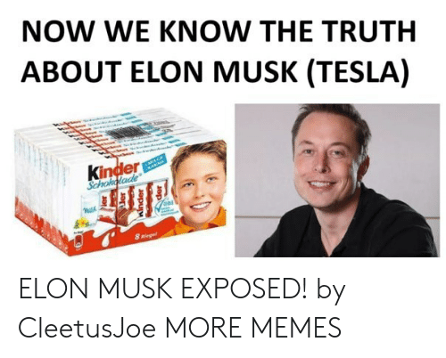 Dank, Memes, and Target: NOW WE KNOW THE TRUTH  ABOUT ELON MUSK (TESLA)  Kinder  Schoholade  8 Riegel ELON MUSK EXPOSED! by CleetusJoe MORE MEMES