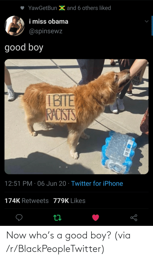 A Good: Now who's a good boy? (via /r/BlackPeopleTwitter)