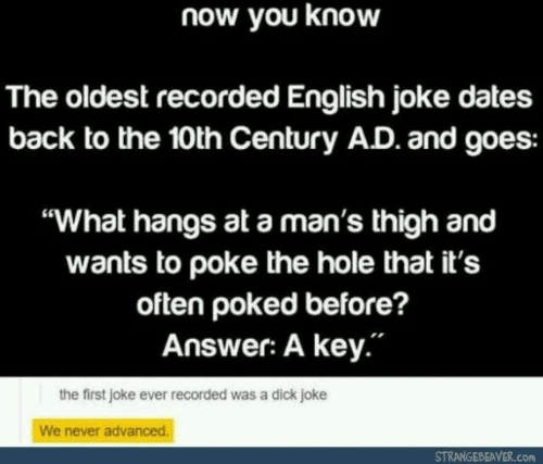 """poke: now you know  The oldest recorded English joke dates  back to the 10th Century AD. and goes:  """"What hangs at a man's thigh and  wants to poke the hole that it's  often poked before?  Answer: A key.""""  the first joke ever recorded was a dick joke  We never advanced.  STRANGEBEAVER.com"""