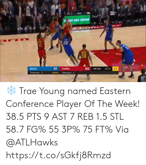 Memes, Hawks, and Magic: nST FOR YOURS  11  97  99  MAGIC  HAWKS  3.1  4th Qtr  :27.0  Timeouts 2  BONUS  Timeouts: 1 ❄️ Trae Young named Eastern Conference Player Of The Week!   38.5 PTS 9 AST 7 REB 1.5 STL 58.7 FG% 55 3P% 75 FT%  Via @ATLHawks   https://t.co/sGkfj8Rmzd