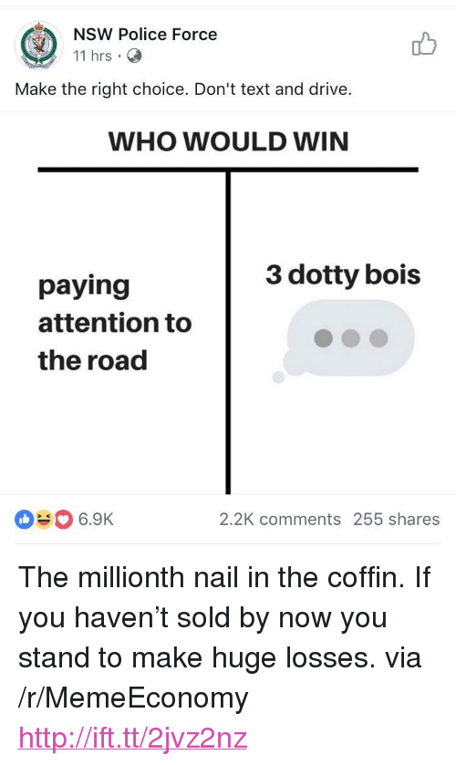 """text-and-drive: NSW Police Force  11 hrs C  Make the right choice. Don't text and drive  WHO WOULD WIN  3 dotty bois  paying  attention to  the road  080 6.9K  2.2K comments 255 shares <p>The millionth nail in the coffin. If you haven't sold by now you stand to make huge losses. via /r/MemeEconomy <a href=""""http://ift.tt/2jvz2nz"""">http://ift.tt/2jvz2nz</a></p>"""