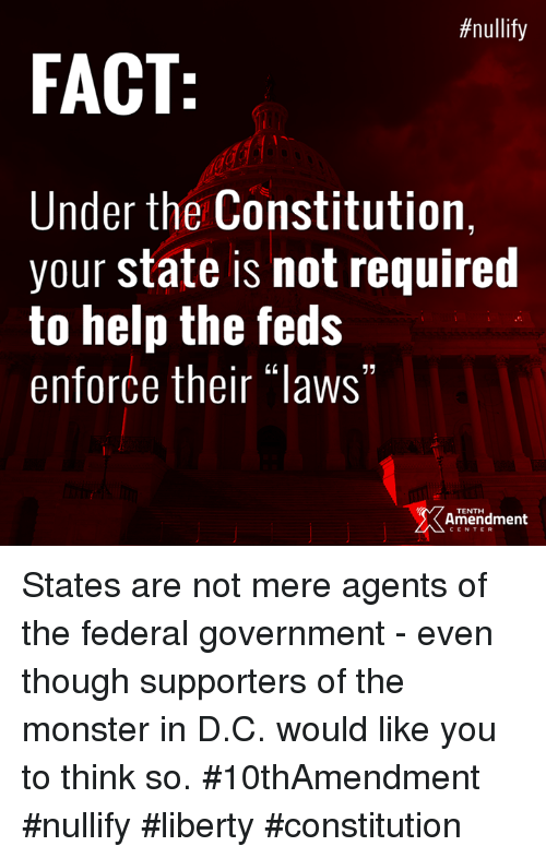Enforcer:  #nullify  FACT  Under the Constitution,  your state is not required  to help the feds  enforce their laws  TENTH  Amendment States are not mere agents of the federal government - even though supporters of the monster in D.C. would like you to think so.  #10thAmendment #nullify #liberty #constitution