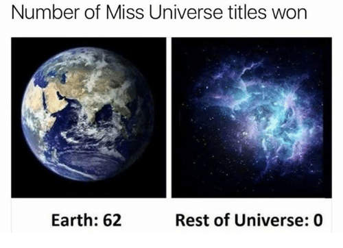 Miss Universe: Number of Miss Universe titles won  Earth: 62  Rest of Universe: 0