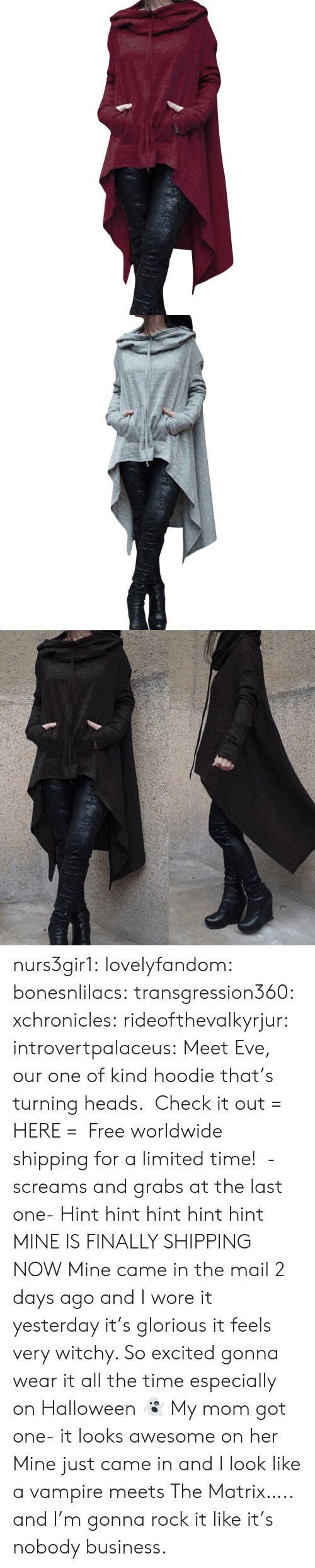 Halloween, Target, and The Matrix: nurs3gir1: lovelyfandom:  bonesnlilacs:  transgression360:  xchronicles:  rideofthevalkyrjur:  introvertpalaceus:  Meet Eve, our one of kind hoodie that's turning heads. Check it out = HERE = Free worldwide shipping for a limited time!   -screams and grabs at the last one-  Hint hint hint hint hint   MINE IS FINALLY SHIPPING NOW   Mine came in the mail 2 days ago and I wore it yesterday it's glorious it feels very witchy. So excited gonna wear it all the time especially on Halloween 👻   My mom got one- it looks awesome on her   Mine just came in and I look like a vampire meets The Matrix….. and I'm gonna rock it like it's nobody business.