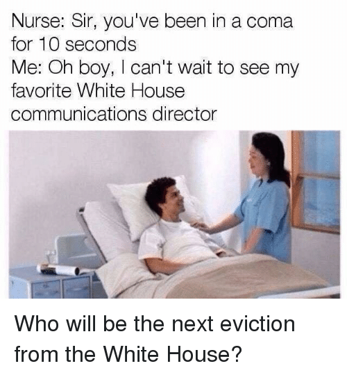 Memes, White House, and House: Nurse: Sir, you've been in a coma  for 10 seconds  Me: Oh boy, I can't wait to see my  favorite White House  communications director Who will be the next eviction from the White House?
