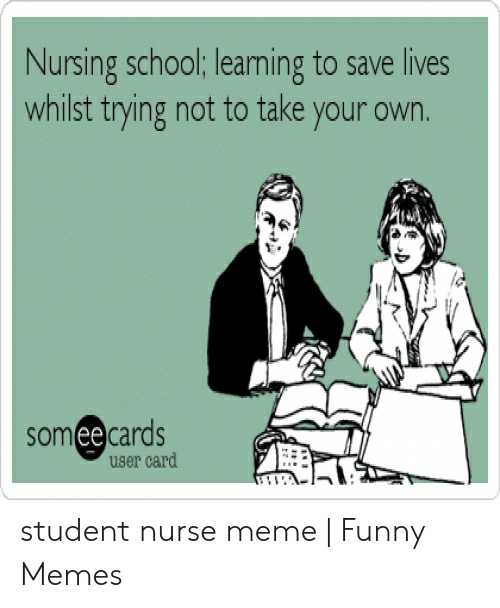 Nurse Meme: Nursing school; learning to save lives  whilst trying not to take your own.  someecards  user card student nurse meme | Funny Memes