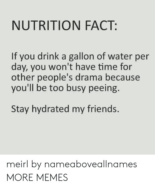 Dank, Friends, and Memes: NUTRITION FACT:  If you drink a gallon of water per  day, you won't have time for  other people's drama because  you'll be too busy peeing.  Stay hydrated my friends. meirl by nameaboveallnames MORE MEMES