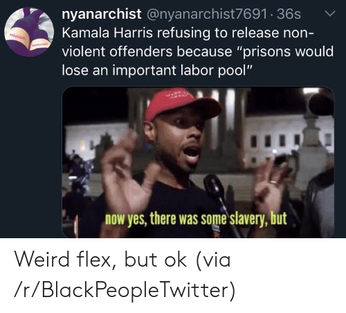 "Blackpeopletwitter, Flexing, and Weird: nyanarchist @nyanarchist7691 36s  Kamala Harris refusing to release non-  violent offenders because ""prisons would  lose an important labor pool""  now yes, there was some slavery, but Weird flex, but ok (via /r/BlackPeopleTwitter)"