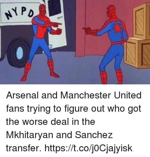 Arsenal, Soccer, and Manchester United: NYP Arsenal and Manchester United fans trying to figure out who got the worse deal in the Mkhitaryan and Sanchez transfer. https://t.co/j0Cjajyisk