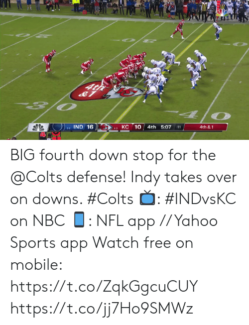 Fourth: O 2  O PE  4t  O  КС 10  IND 16  4th 5:07  4th &1  :11  2-2  4-0 BIG fourth down stop for the @Colts defense!  Indy takes over on downs. #Colts  📺: #INDvsKC on NBC 📱: NFL app // Yahoo Sports app Watch free on mobile: https://t.co/ZqkGgcuCUY https://t.co/jj7Ho9SMWz