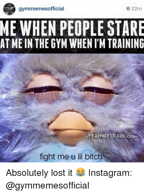 Fight Me U Lil: O 22m  S gymmemes official  ME WHEN PEOPLE STARE  AT ME IN THE GYM WHENIMTRAINING  COM  fight me u lil bitch Absolutely lost it 😂  Instagram: @gymmemesofficial