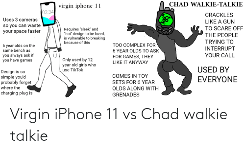 """sleek: O CHAD WALKIE-TALKIE  virgin iphone 11  02:34  CRACKLES  Uses 3 cameras  LIKE A GUN  so you can waste  your space faster  TO SCARE OFF  Requires """"sleek"""" and  """"hot"""" design to be loved,  is vulnerable to breaking  because of this  THE PEOPLE  TRYING TO  TOO COMPLEX FOR  6 YEAR OLDS TO ASK  FOR GAMES, THEY  6 year olds on the  same bench as  INTERRUPT  you always ask if  you have games  YOUR CALL  Only used by 12  year old girls who  use TikTok  LIKE IT ANYWAY  USED BY  Design is so  simple you'd  probably forget  where the  COMES IN ΤΟΥ  EVERYONE  SETS FOR 6 YEAR  OLDS ALONG WITH  charging plug is  GRENADES Virgin iPhone 11 vs Chad walkie talkie"""
