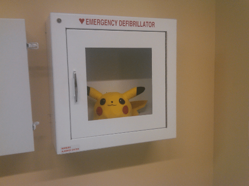 Alarmed: O EMERGENCY DEFIBRILLATOR  WARNING  ALARMED SYSTEM