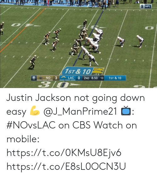 going down: O NFL  1ST &10  3  LAC  NO  2ND 8:50 13  1ST & 10  3  A Justin Jackson not going down easy 💪  @J_ManPrime21  📺: #NOvsLAC on CBS Watch on mobile: https://t.co/0KMsU8Ejv6 https://t.co/E8sL0OCN3U