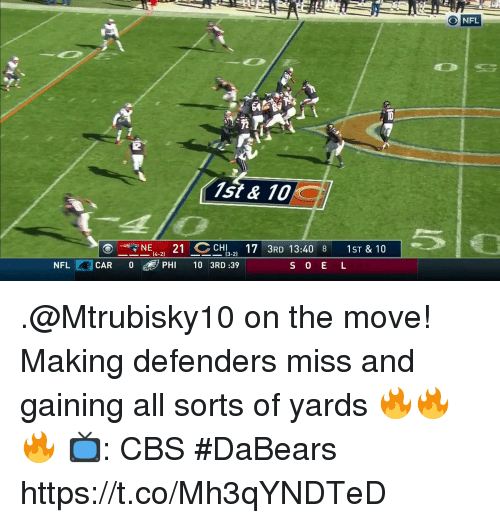 Memes, Nfl, and Cbs: O NFL  1st & 10  NE 21 CHI  R 13:40 8 1ST & 10  NFL CAR 0  PHI 10 3RD :39 .@Mtrubisky10 on the move!  Making defenders miss and gaining all sorts of yards 🔥🔥🔥  📺: CBS #DaBears https://t.co/Mh3qYNDTeD