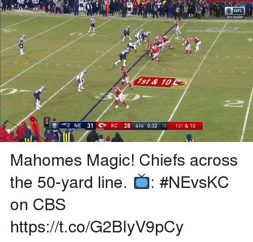 Memes, Nfl, and Cbs: O NFL  AFC CHAMP  tx  NE 31 KC 28 4TH 0:32 12 1ST & 10 Mahomes Magic!  Chiefs across the 50-yard line.  📺: #NEvsKC on CBS https://t.co/G2BIyV9pCy