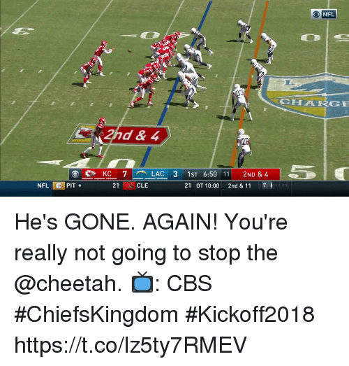 Hes Gone: O NFL  CHAARGE  KC 7-  LAC 31ST 6:50 11 2ND & 4  21 OT 10:00 2nd & 11 7  NFL PIT  21 ·CLE He's GONE. AGAIN!  You're really not going to stop the @cheetah.  📺: CBS #ChiefsKingdom #Kickoff2018 https://t.co/lz5ty7RMEV