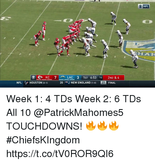 England, Memes, and Nfl: O NFL  HAF  es KC 7 LAC 3 1ST 6:53 14 2ND & 4  20 、7 NEW ENGLAND [1-0)  NFLHOUSTON t0-11  27  FINAL Week 1: 4 TDs Week 2: 6 TDs  All 10 @PatrickMahomes5 TOUCHDOWNS! 🔥🔥🔥 #ChiefsKIngdom https://t.co/tV0ROR9QI6