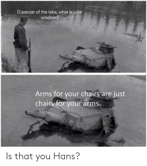 Is That You: O panzer of the lake, what is your  wisdom?  Arms for your chairs are just  chairs for your arms. Is that you Hans?