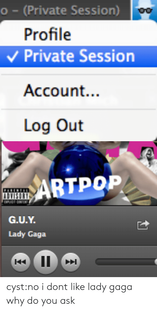 Lady Gaga, Target, and Tumblr: o (Private Session)  Profile  Private Session  Account...  Log Out   ABTPOP  @iJUN%.  Lady Gaga cyst:no i dont like lady gaga why do you ask