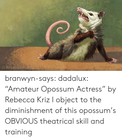 """actress: O Rebecca Kriz 2015 branwyn-says:  dadalux: """"Amateur Opossum Actress"""" by Rebecca Kriz I object to the diminishment of this opossum's OBVIOUS theatrical skill and training"""