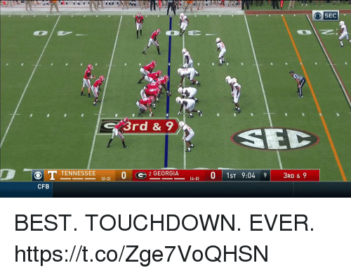 Football, Nfl, and Sports: O SEC  3rd & 9  1221 0 2 GEORGIA  0 1ST 9:049  3RD & 9  CFB BEST. TOUCHDOWN. EVER. https://t.co/Zge7VoQHSN