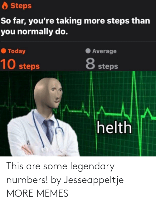 steps: O Steps  So far, you're taking more steps than  you normally do.  Average  O Today  8  10 steps  steps  helth This are some legendary numbers! by Jesseappeltje MORE MEMES